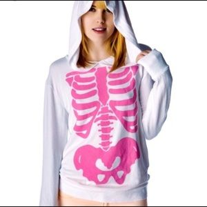 V RARE Wildfox Barbies Insides S hoodie top FLAWED